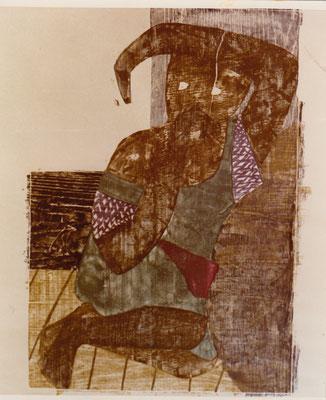 Auf dem Viktoriasee II, Otto Eberhardt, 1965, Holzschnitt, Papier, 60x94cm, ID1176