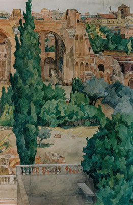 Rom, Maxentius-Basilika v. Casino Farnese, Otto Eberhardt, 2000, Aquarell, Papier, 75x49,5, ID1086