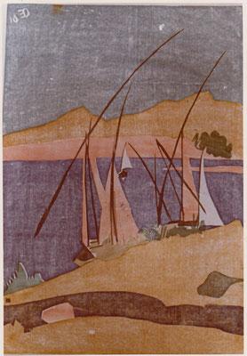 Nil bei Assuan, Otto Eberhardt, 1961, Holzschnitt, Papier, 50x72cm, ID1173