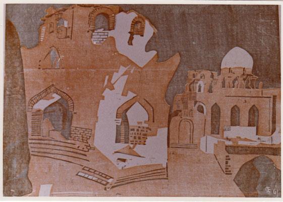 Assuan, Arabischer Friedhof, 1961, Otto Eberhardt, 1961, Holzschnitt, Papier, 74x52, ID1163