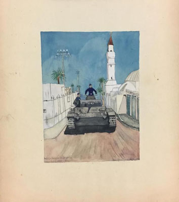 Deutsche Panzer in Tripolis, Otto Eberhardt, 1942, Aquarell, Papier, 16x21cm, ID1359