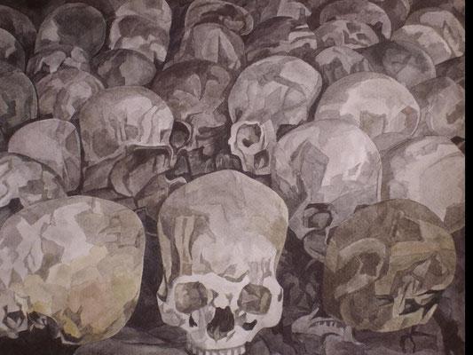 Mit den Toten in einer toten Sprache, Otto Eberhardt, Aquarell, Papier , ID1345