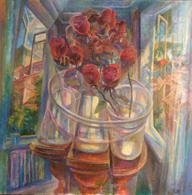 Bouquet into three vases, Vladimir Skripnik, 2017, oil, canvas, 60x60, ID1139
