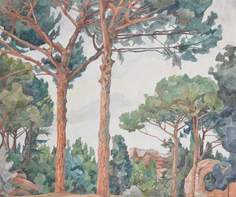 Palatin v. Belvedere, Otto Eberhardt, 2000, Aquarell, Papier, 53x60cm, ID1447