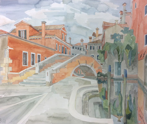 Campo e Ponte S. Boldo II, Otto Eberhardt, 1996, Aquarell, Papier, 62x52cm, ID1545
