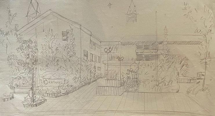 Rathaus Ketsch, Shihab Vaippipadath, undatiert, Zeichnung, Papier, 49x31cm, ID1744