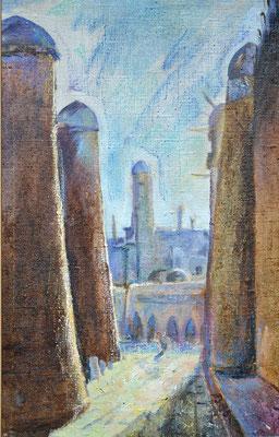 Minarette, Alexander Bergmann, 1996, Öl, Leine, 45x37, ID1049