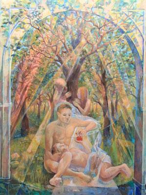 They are still in Eden at the Moment, Vladimir Skripnik, 2016, tempera oil, canvas, 80x60