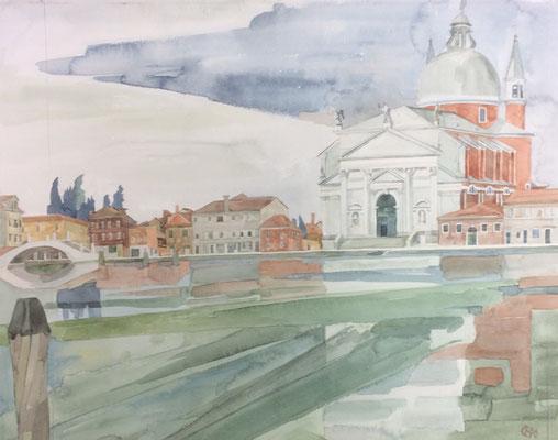 Il Redentore v. Zattere-Calle del Zucaro, Otto Eberhardt, 1996, Aquarell, Papier, 44,5x39,7cm, ID1561