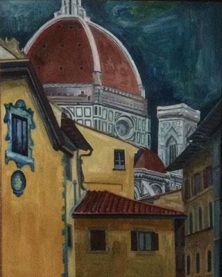Florenz, Otto Eberhardt, 1996, Öl, Sperrholz, 46x58cm, ID1159