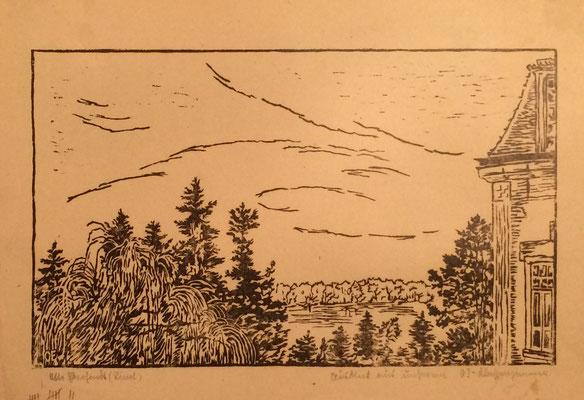 Ausblick Klassenzimmer, Otto Eberhardt, 1950, Linoliumschnitt, Papier, 27x16,5cm, ID1608