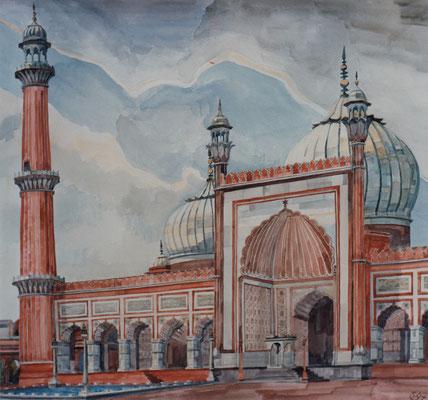 Dehli, Jama Masjid, Otto Eberhardt, 1997, Aquarell, Papier, 64x58cm, ID1495