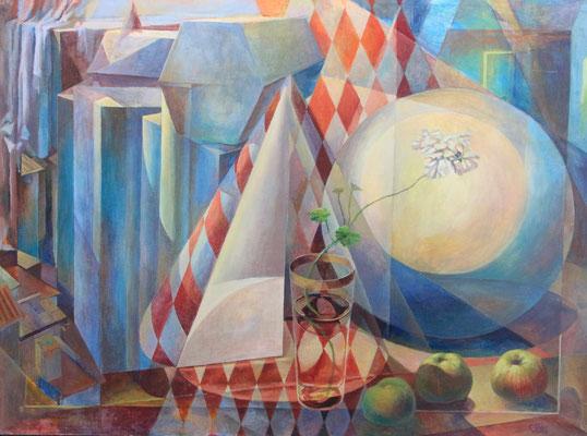 Volumetric geometry, Vladimir Skripnik, 2014, tempera oil, canvas, 60x80