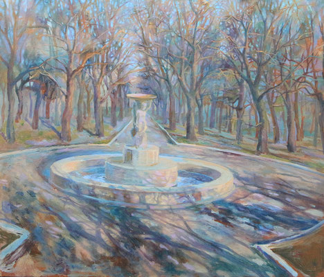 A fountain, Vladimir Skripnik, 1999, oil, carton, 42x50