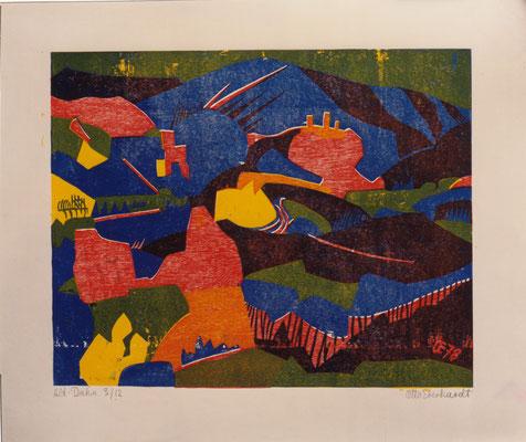 Alt Dahn, Otto Eberhardt, 1978, Holzschnitt, Papier, 60,5x48cm, ID1270