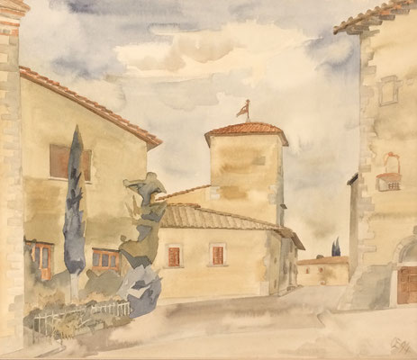 Volpaia in Chianti Piazza, Otto Eberhardt, 1994, Aquarell, Papier, 46x39cm, ID1308