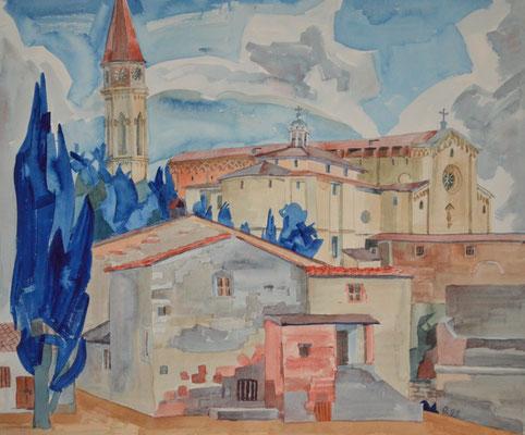Arezzo, Cathedrale, Otto Eberhardt, 1993, Aquarell, Papier, 56x48cm, ID1431