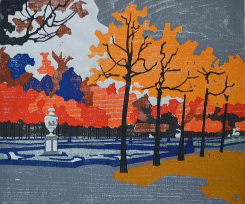 Schlosspark, Otto Eberhardt, 2001, Holzschnitt, Papier, 62x52cm, ID1276