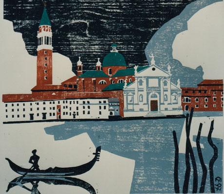 San Giorgio Maggiore, Otto Eberhardt, 1997, Holzschnitt, Papier, 54x50cm, ID1274