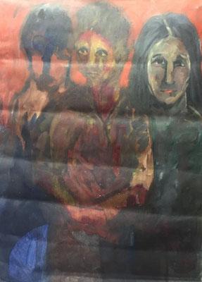 Drei Personen, Shihab Vaippipadath, 2002, Öl, Leinwand, 86x119cm, ID1604
