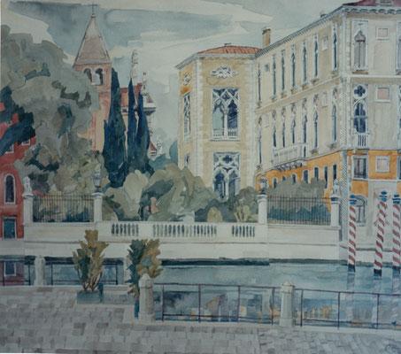 San Vidál und Palazzo Cavalli-Franchetti, Otto Eberhardt, 1995, Aquarell, Papier, 60x53cm, ID1073
