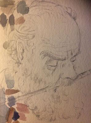 Otto Eberhardt at work, Shihab Vaippipadath, undatiert, Zeichnung, Papier, 30x20cm, ID1711