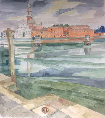 San Giorgio Maggiore, v. Fond. Zattere ai Saloni, Otto Eberhardt, 1996, Aquarell, Papier, 65x75cm, ID1530