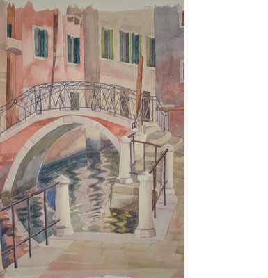 Otto in Venice, without Otto, Shihab Vaippipadath, 1998, Aquarell, Papier, 38x46cm, ID1690