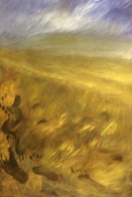 Footstep on seashore, Shihab Vaippipadath, 2002, Öl, Leinwand, 80x123cm, ID1282