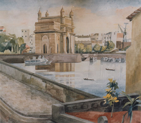 Bombay, Gateway of India, Otto Eberhardt, 1999, Aquarell, Papier, 52x60cm, ID1077