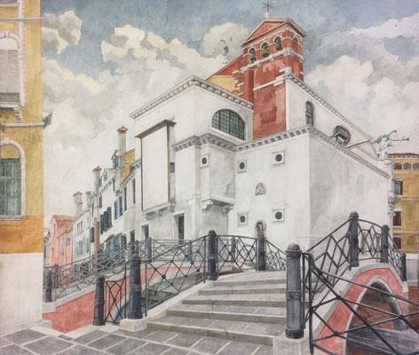 Venedig S Maria del Giglio, Otto Eberhardt, 2003, Aquarell, Papier, 75x65cm, ID1199