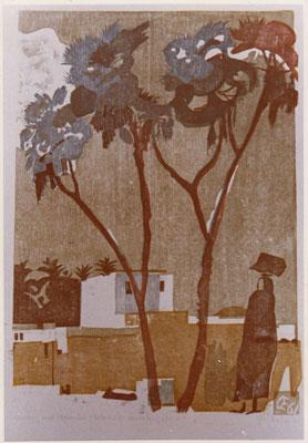 Assuan, Insel Elephantine, Otto Eberhardt, 1961, Holzschnitt, Papier, 42x80,6cm, ID1172