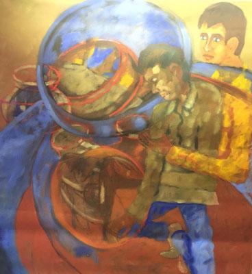 Zwei Männer, Shihab Vaippipadath, 2002, Öl, Leinwand, 149x173cm, ID1601