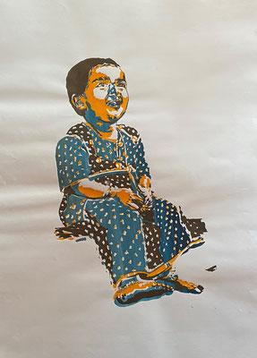 Happy Girl blue on white, Shihab Vaippipadath, undatiert, Druck, Papier, 61x86cm, ID1720