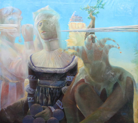 Jester, Queen and Processed Abstraction, Vladimir Skripnik, 1991, oil, canvas, 92,5x82,5, Comment: Man's life consists of several layers, where each performs various roles. King, queen, jester and hangman are not only romantic images of the past, but they