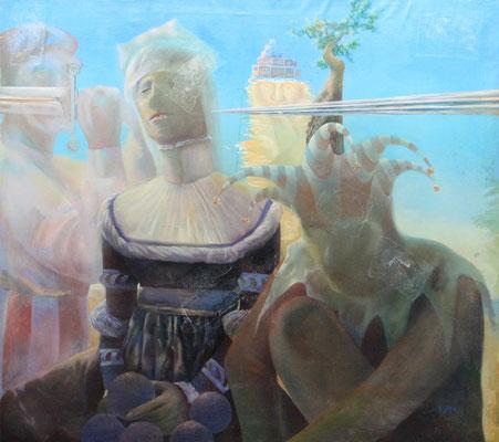 Jester, Queen and Processed Abstraction, Vladimir Skripnik, 1991, Öl, Leinwand, 92,5x82,5cm, ID1020