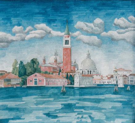 San Giorgio Maggiore und Salute von Riva die Partigiani, Otto Eberhardt, 2009, Aquarell, Papier, 74,5x67,5cm, ID1153