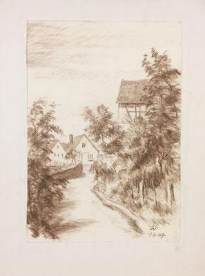 Ottoschwanden, Theodor Waldraff, 1947, Kreide, Papier, 27,3x38,8cm, ID1310