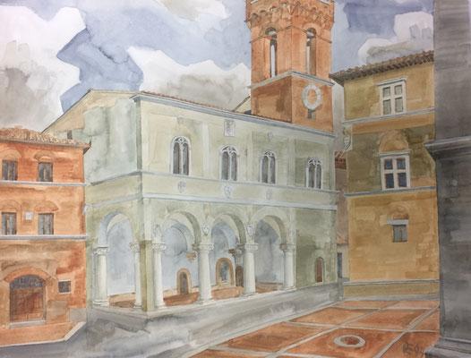 Pienza, Pzza Pio II, Otto Eberhardt, 1994, Aquarell, Papier, 64x48cm, ID1541