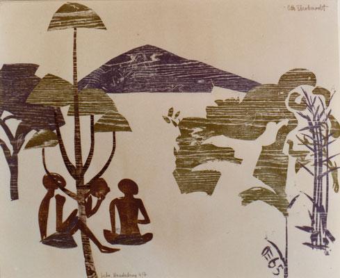 Juda-Südsudan, Otto Eberhardt, 1965, Holzschnitt, Papier, 104x84cm, ID1223