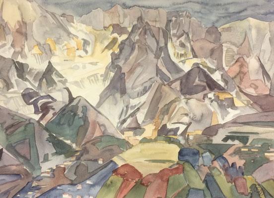 Carrara an altem Viadukt, Otto Eberhardt, 1989, Aquarell, Papier, 64,5x47cm, ID1195