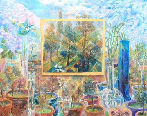 Laboratory of the goddess Flora, Vladimir Skripnik, 2016, tempera oil, board carton, 57x71,5