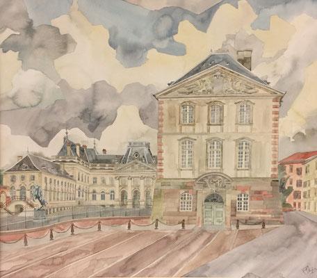 Lunéville, Château côté ville, Otto Eberhardt, 1995, Aquarell, Papier, 69,5x53,5cm, ID1315