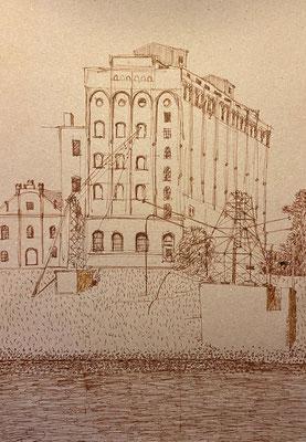 Mannheim, Kauffmannmühle Verbindungskanal, Shihab Vaippipadath, 2002, Zeichnung, Papier, 21x30cm, ID1742