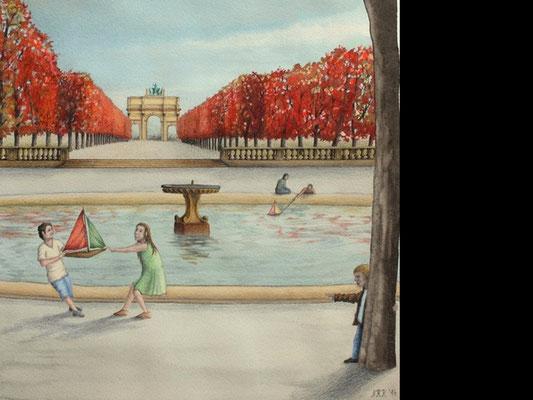 Die Tuilerien (Spielende Kinder im Streit), Norbert, Zeichnung, Papier, ID1340