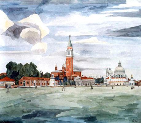 San Giorgio Maggiore, Otto Eberhardt, 1997, Aquarell, Papier, fehltcm, ID1463
