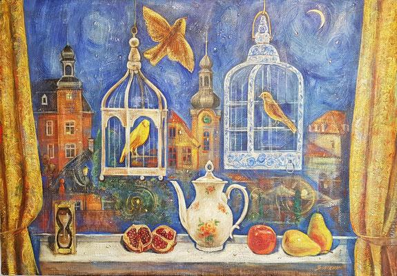 Night birds, Alexandr Zlatkin, 2018, oil, canvas, 70x100, ID1144