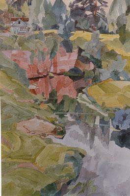 Siverskij v Fabrikweg, Otto Eberhardt, 1996, Aquarell, Papier, 43,5x66cm, ID1087