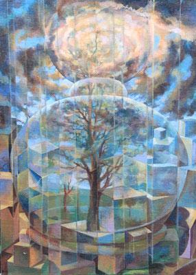 Sphere of tome , Vladimir Skripnik, 2015, tempera oil,  canvas on carton, 66x47,5