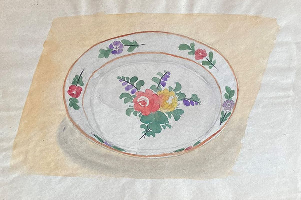 Alt Straßburger Teller, Otto Eberhardt, undatiert, Aquarell, Papier, 30x21cm, ID1840
